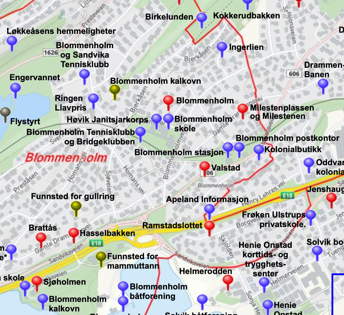 Nytt historisk kart for Bærum